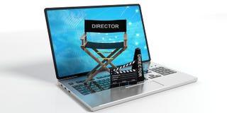 Cadeira do diretor de filme em um portátil no fundo branco ilustração 3D Fotos de Stock
