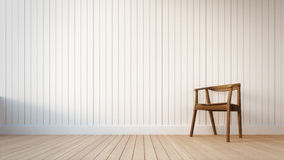 Cadeira e parede branca com listras verticais Imagem de Stock