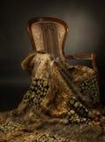 Cadeira elegante com cobertor da pele Foto de Stock