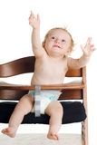 Cadeira elevada do bebê com fome Fotos de Stock Royalty Free