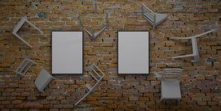 A cadeira encaixada na parede 3d rende Fotos de Stock