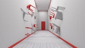 A cadeira encaixada na parede 3d rende Fotos de Stock Royalty Free