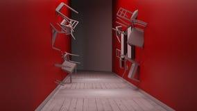 A cadeira encaixada na parede 3d rende Fotografia de Stock Royalty Free