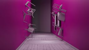 A cadeira encaixada na parede 3d rende Fotografia de Stock