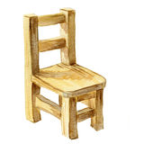Cadeira marrom de madeira da aquarela Imagem de Stock