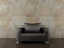 Cadeira moderna para enfrentar uma parede em branco imagens de stock royalty free