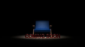 A cadeira na obscuridade com vinda logo o sinal 3D rende Imagem de Stock