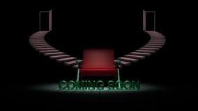 A cadeira na obscuridade com vinda logo o sinal 3D rende Foto de Stock Royalty Free