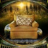 Cadeira no campo Fotografia de Stock Royalty Free