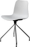 Cadeira plástica com pés do cromo, desenhista moderno da cor branca Cadeira de giro isolada no fundo branco Imagens de Stock Royalty Free