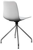 Cadeira plástica com pés do cromo, desenhista moderno da cor branca Cadeira de giro isolada no fundo branco Imagem de Stock