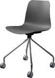 Cadeira plástica da cor cinzenta, desenhista moderno Cadeira de giro isolada no fundo branco Mobília e interior Fotos de Stock Royalty Free
