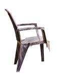 Cadeira plástica quebrada isolada no fundo branco Fotos de Stock Royalty Free