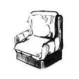 Cadeira velha do vintage furniture Ilustração tirada mão do esboço da tinta ilustração royalty free
