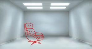 Cadeira vermelha no quarto claro Ilustração Stock