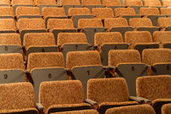 Cadeiras amarelas da sala de concertos, salão vazio Fotos de Stock Royalty Free
