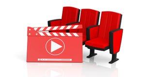 Cadeiras da placa e do teatro de válvula do filme do cinema isoladas no fundo branco ilustração 3D Fotos de Stock