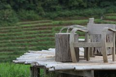 Cadeiras de madeira foto de stock