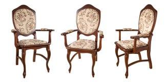 Cadeiras de madeira do vintage isoladas no fundo branco Estilo retro Mobília para o interior refinado imagens de stock royalty free