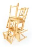 Cadeiras de madeira empilhadas Fotos de Stock