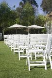 Cadeiras de madeira no jardim Fotos de Stock Royalty Free