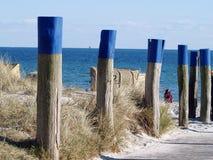 Cadeiras de praia de vime telhadas na praia imagem de stock royalty free
