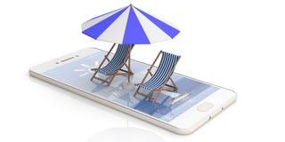 Cadeiras de praia e guarda-chuva em um smartphone - fundo branco ilustração 3D Fotografia de Stock Royalty Free