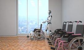 Cadeiras de roda do robô ilustração do vetor