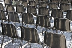 Cadeiras de um cinema exterior Fotografia de Stock Royalty Free