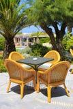 Cadeiras de vime e palmeiras no hotel mediterrâneo, Creta, Fotografia de Stock