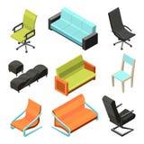 Cadeiras diferentes do escritório Ilustrações isométricas ilustração royalty free
