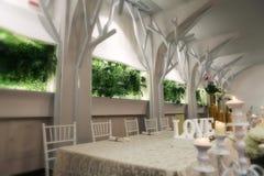 Cadeiras do casamento em um salão de baile do partido ou do evento Imagem de Stock Royalty Free