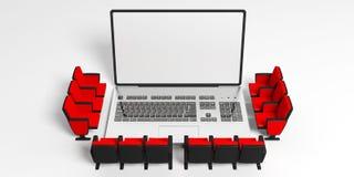 Cadeiras do cinema em torno de um portátil, tela branca vazia para o copyspace, fundo branco ilustração 3D Fotografia de Stock