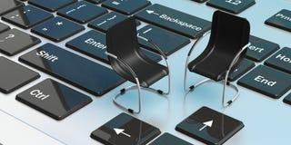 Cadeiras do escritório em um portátil ilustração 3D Imagens de Stock