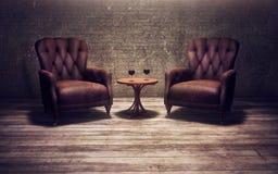 Cadeiras do vintage em um quarto velho Fotos de Stock