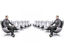 Cadeiras e homem de negócios ilustração stock