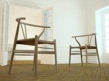 Cadeiras e interior elegante (amarelo) Fotografia de Stock Royalty Free