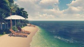 Cadeiras e parasóis de plataforma na praia tropical ilustração royalty free