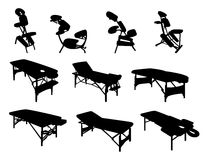 Cadeiras e tabelas da massagem ilustração do vetor
