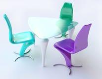 Cadeiras modernas da tabela e do plástico no azul e no verde ilustração royalty free