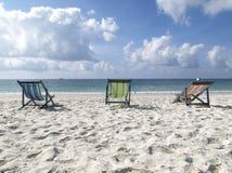 Cadeiras na praia fotografia de stock royalty free