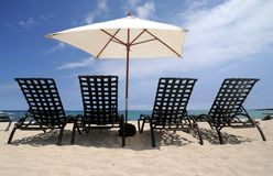 Cadeiras na praia Imagens de Stock Royalty Free