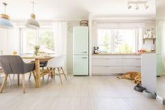 Cadeiras na tabela sob lâmpadas no interior brilhante da cozinha com frid fotos de stock