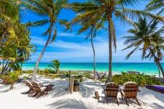 Cadeiras sob as palmeiras na praia do para?so no recurso tropical Maya de Riviera - costa das cara?bas em Tulum em Quintana Roo,  imagem de stock royalty free