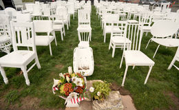 185 cadeiras vazias - Christchurch Nova Zelândia Imagem de Stock Royalty Free