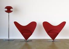Cadeiras vermelhas à moda Fotos de Stock