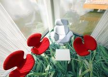 Cadeiras vermelhas e brancas Fotografia de Stock Royalty Free
