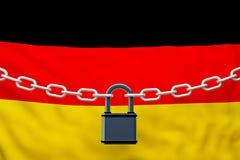 Cadena cerrada de la bandera de Alemania con el candado ilustración del vector