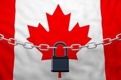 Cadena cerrada de la bandera de Canadá con el candado stock de ilustración