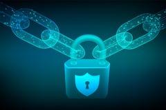 Cadena de bloque bloqueo La seguridad cibernética, la caja fuerte, la privacidad o el otro concepto cadena del wireframe 3D con c stock de ilustración